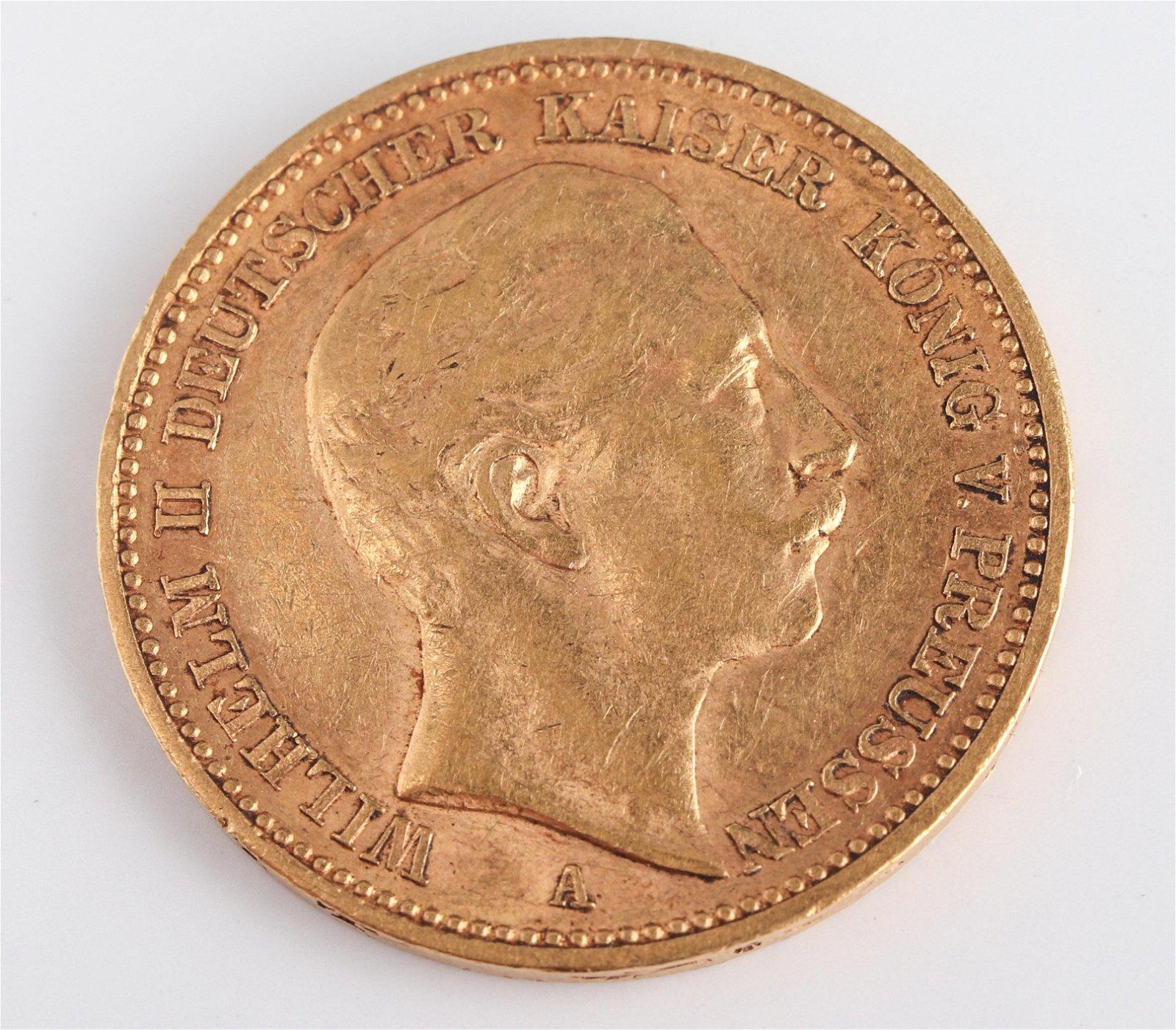1901 Wilhelm II 20 Mark Gold Coin