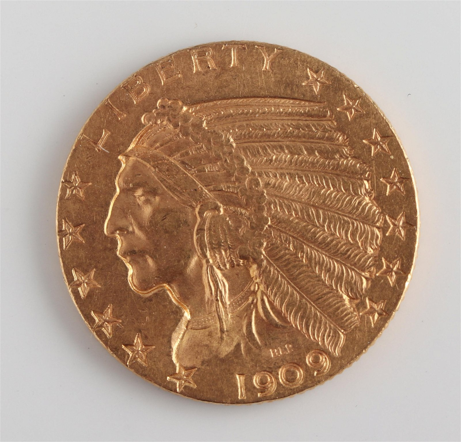 1909 Indian Head $5 Half Eagle Gold Coin