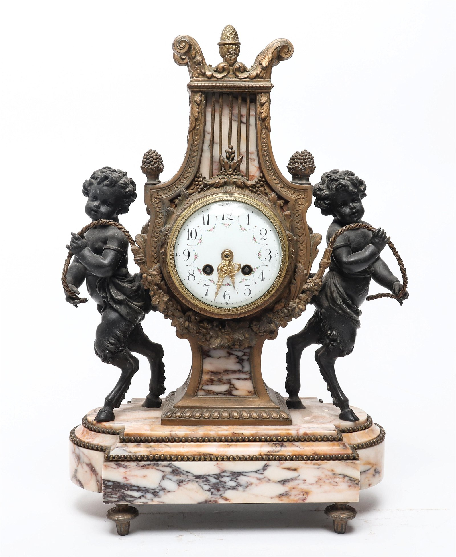 French Rococo Manner S.H. Paris Mantel Clock