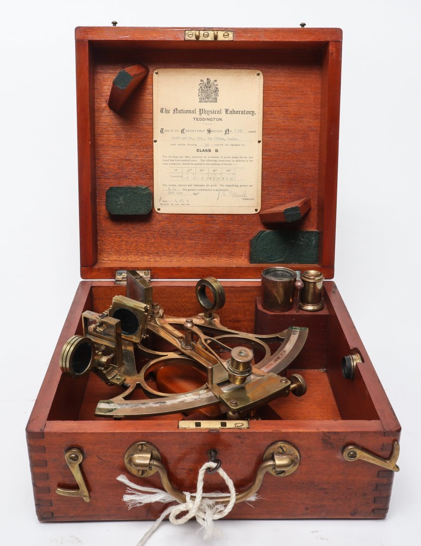 Heath & Co. Cased Brass Sextant, 1925