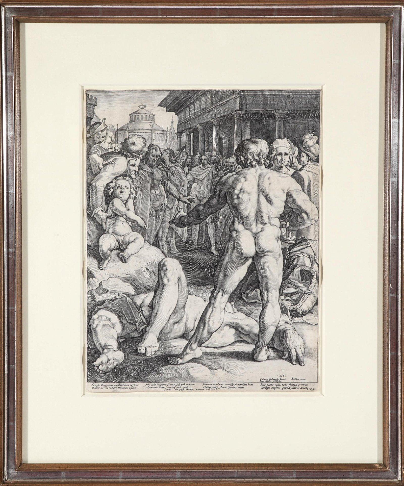 Jan Muller Ulysses and Irus Engraving, 1589