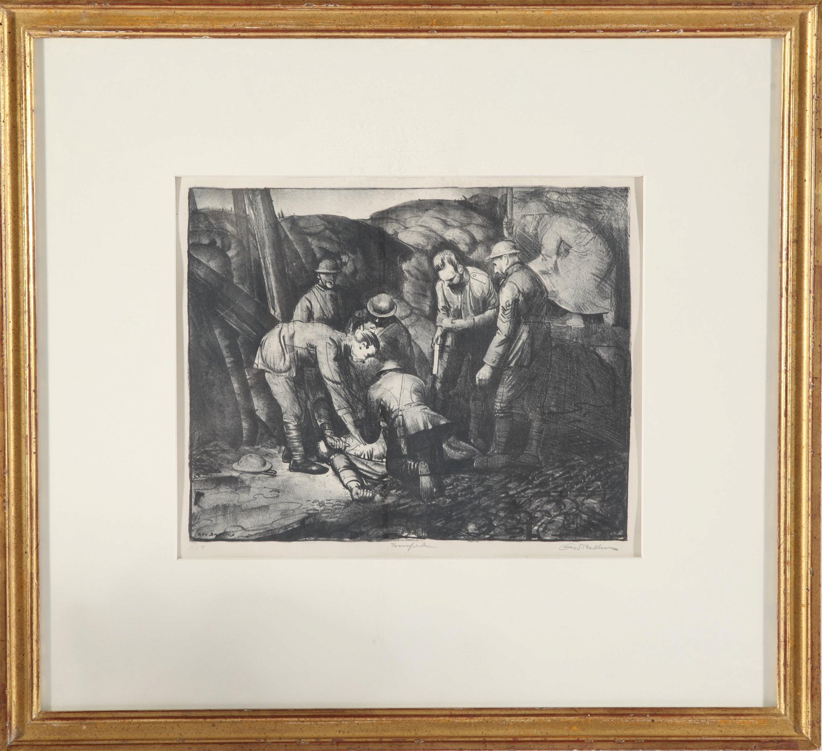 "George Bellows Signed ""Sniped"" Lithograph"