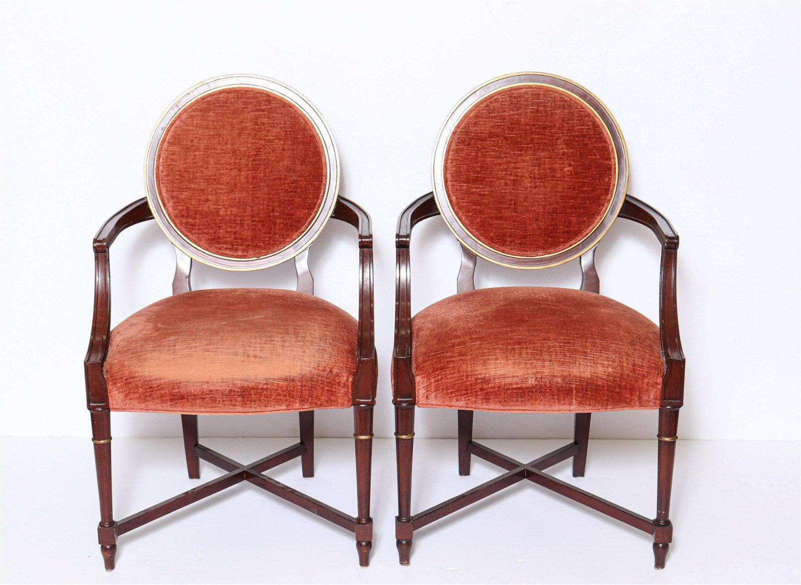 Baker Louis XVI Manner Dining Armchairs, Pair