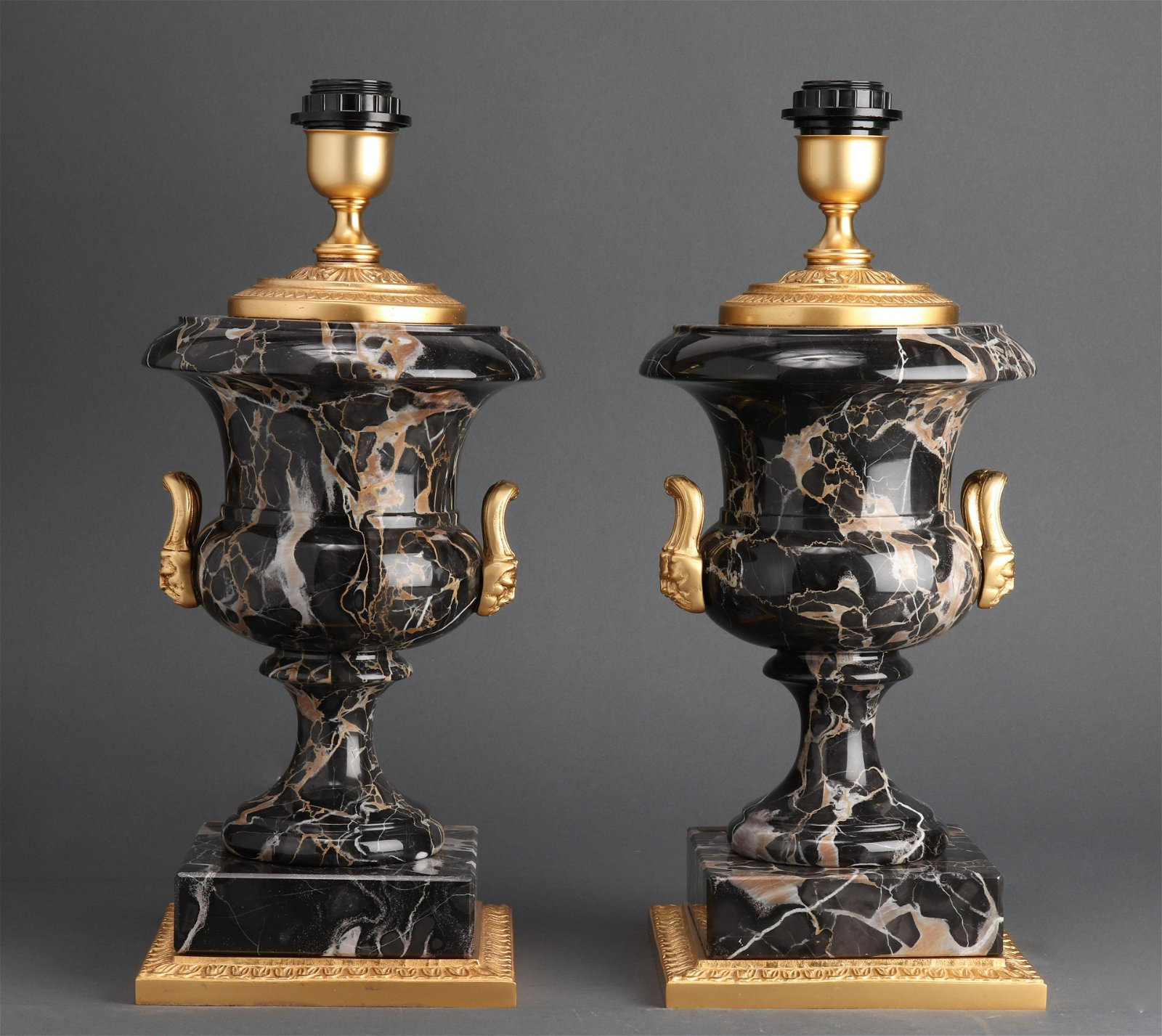 Louis XVI Manner Gilt Metal and Marble Lamps, Pair