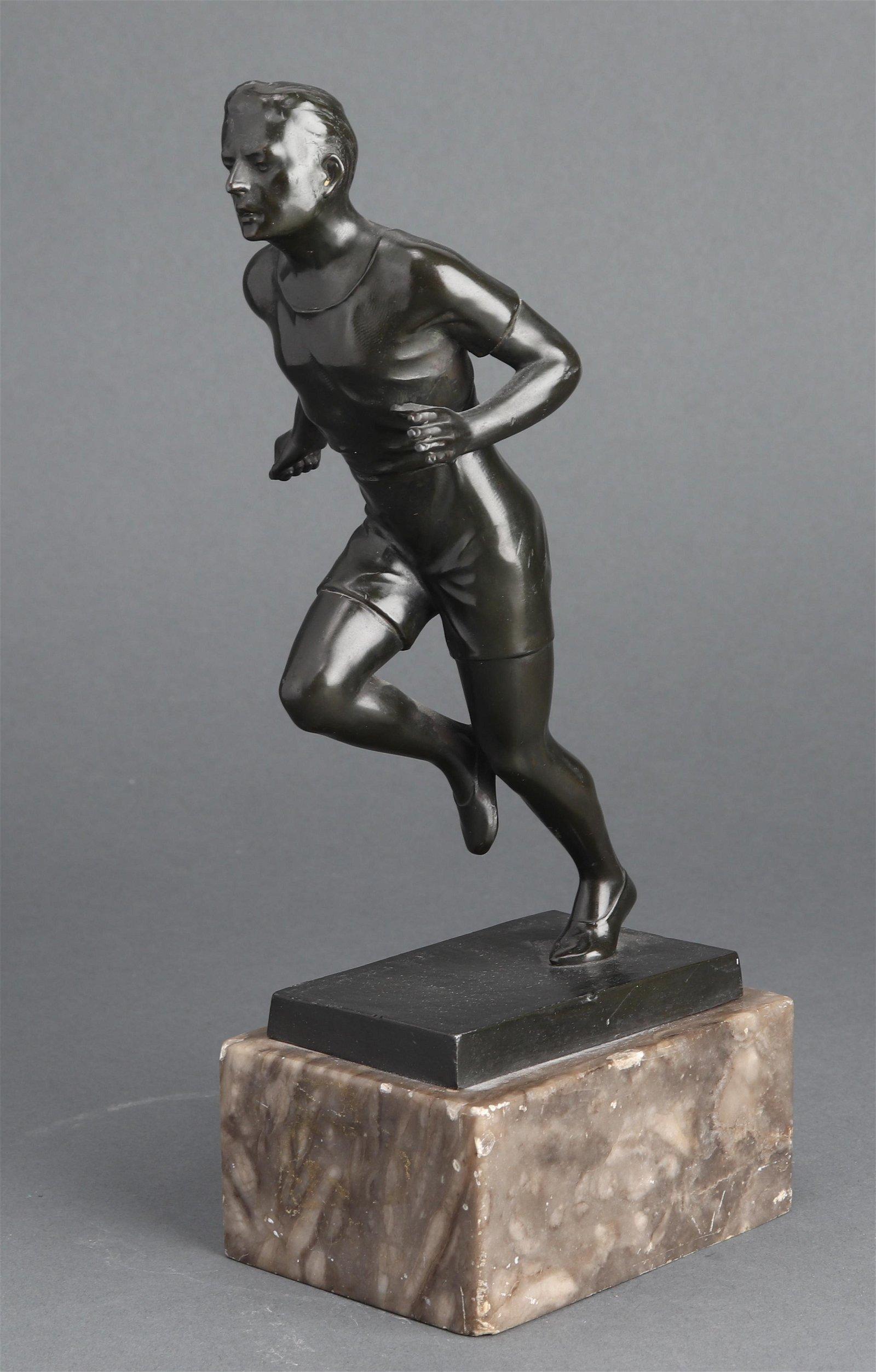 Cast Metal Running Athlete Figural Sculpture