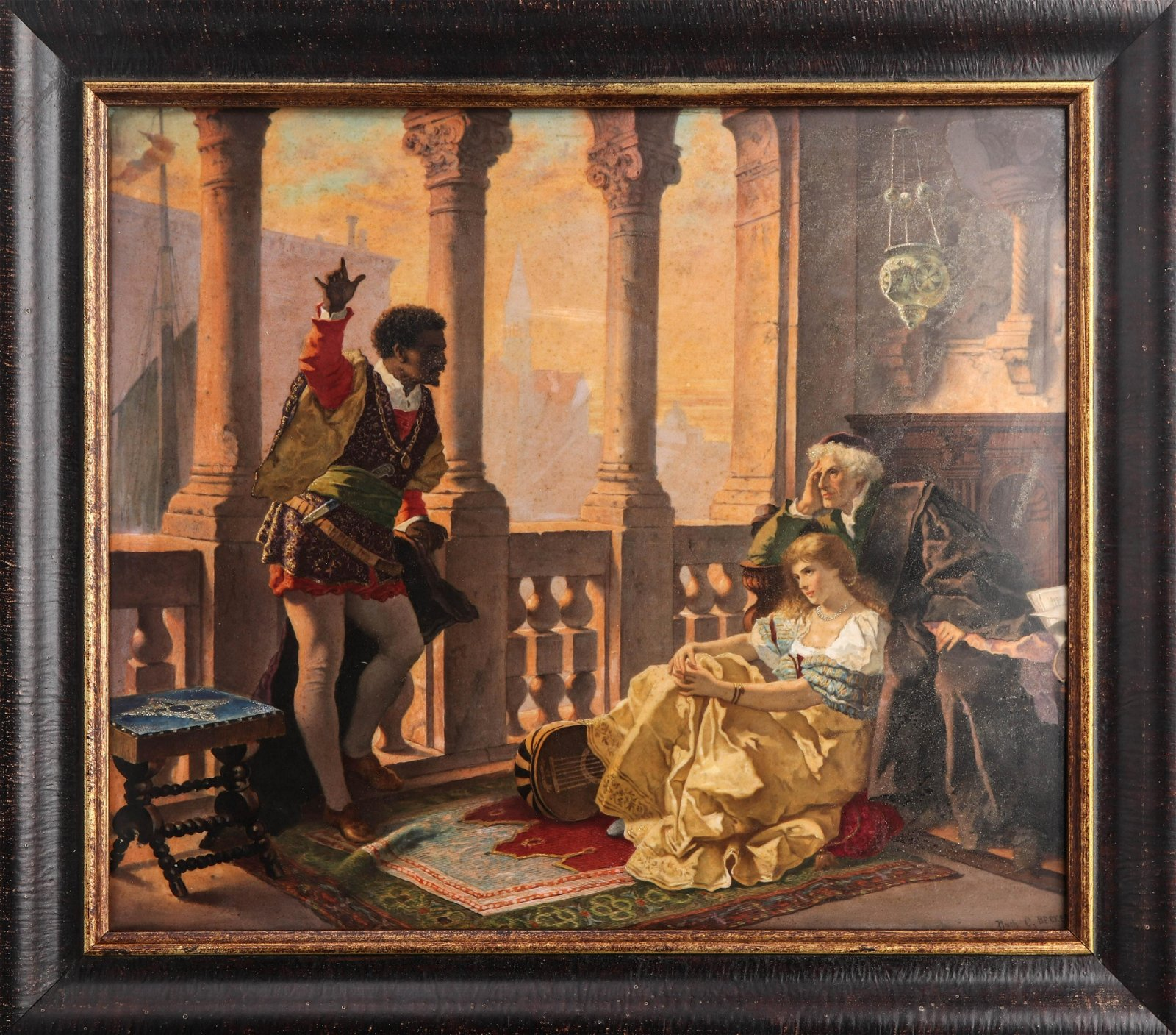 "German KPM ""Othello"" Hand-Painted Porcelain Plaque"