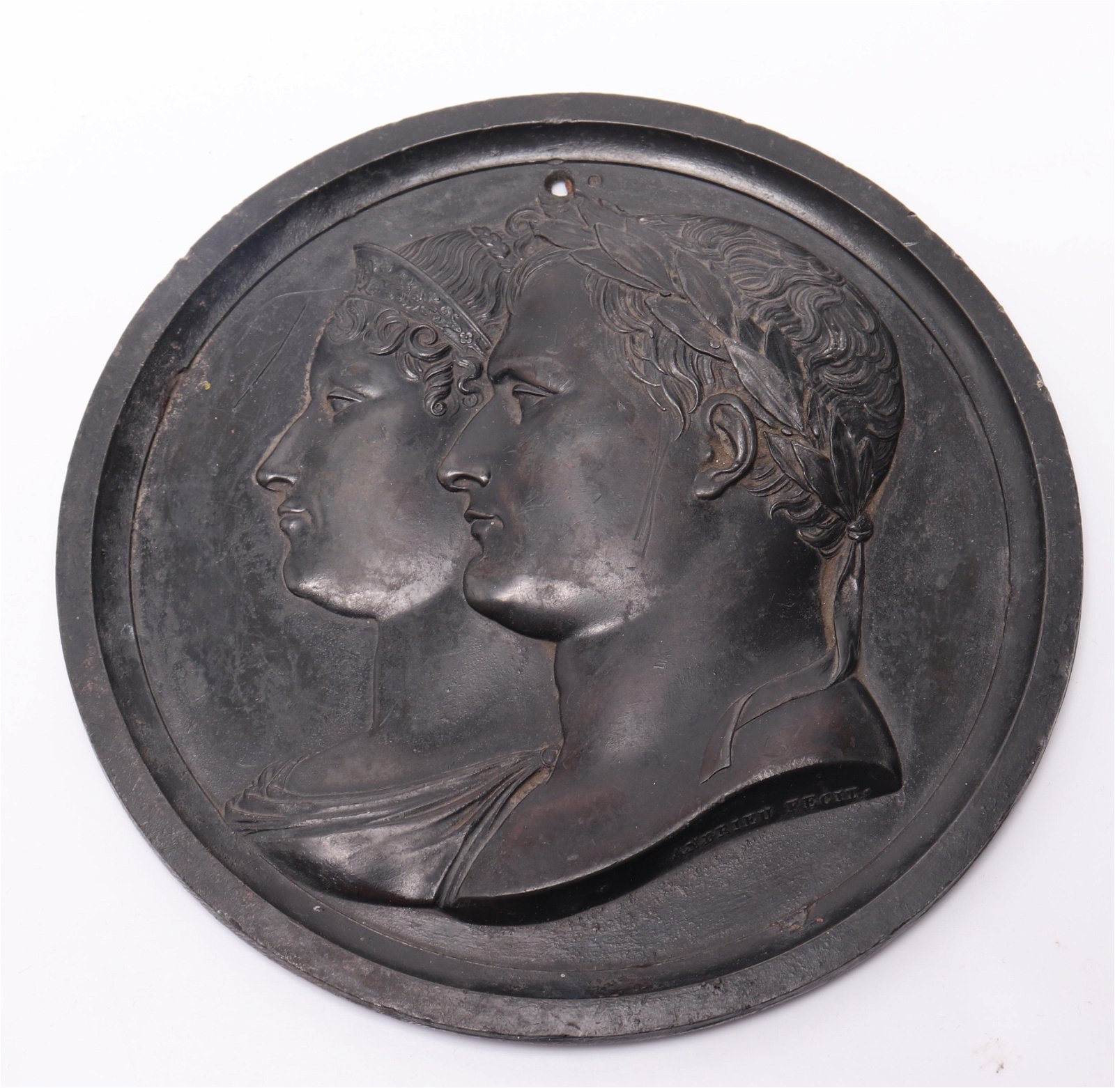 Patinated Metal Portrait Profile Relief Medallion
