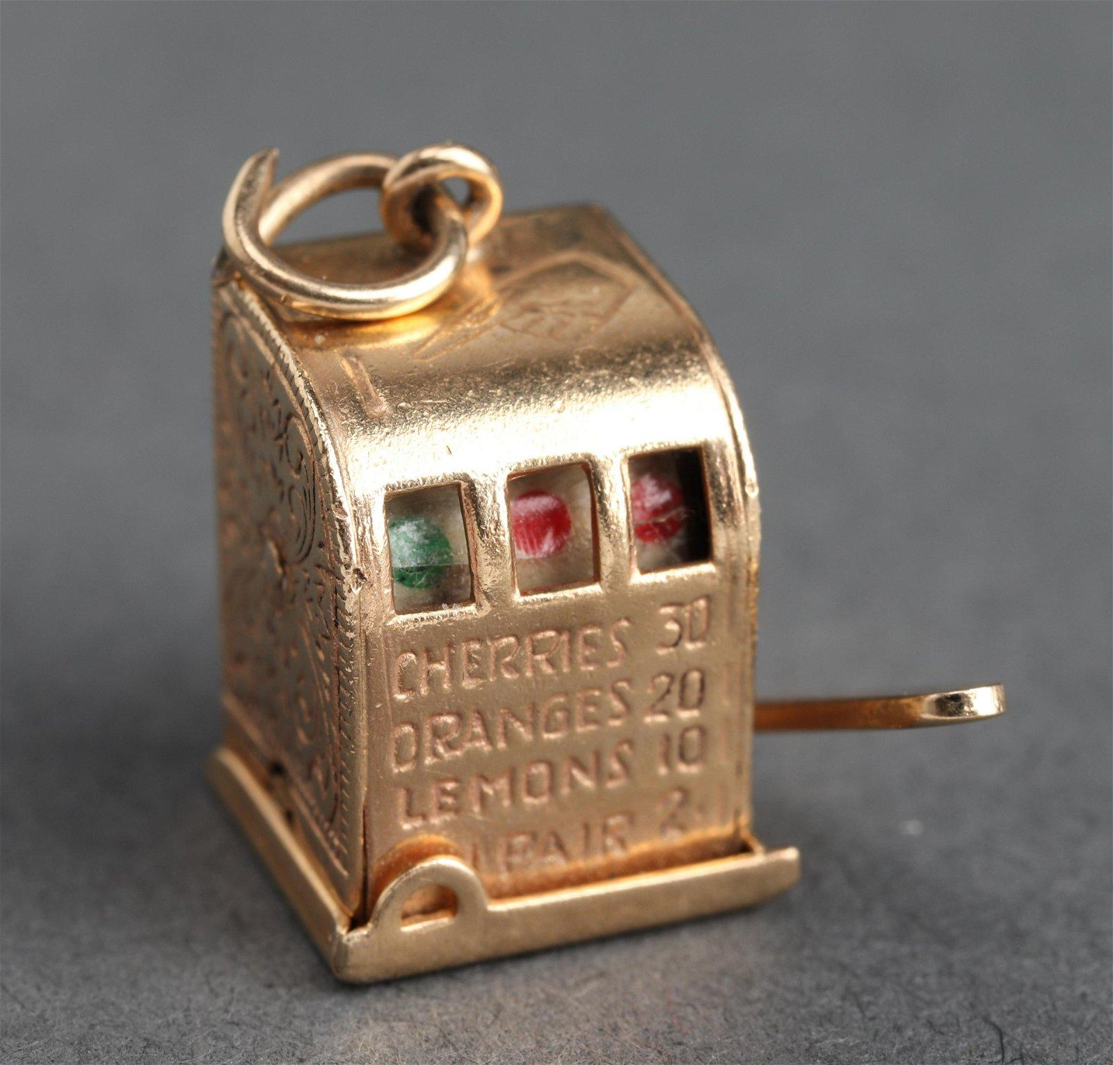 14K Yellow Gold Miniature Slot Machine Charm