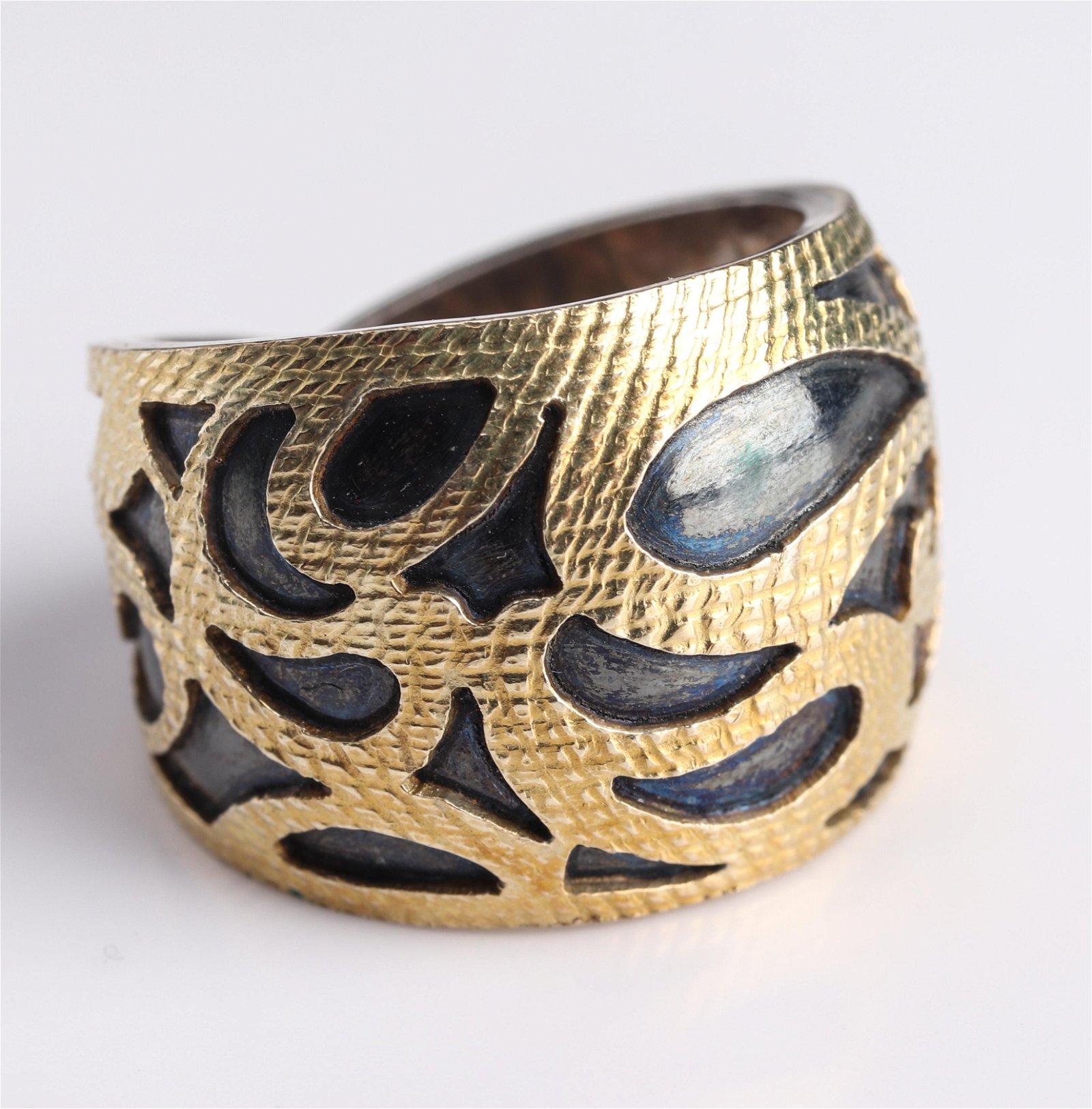 Blackened Silver & 18K Yellow Gold Ornate Ring
