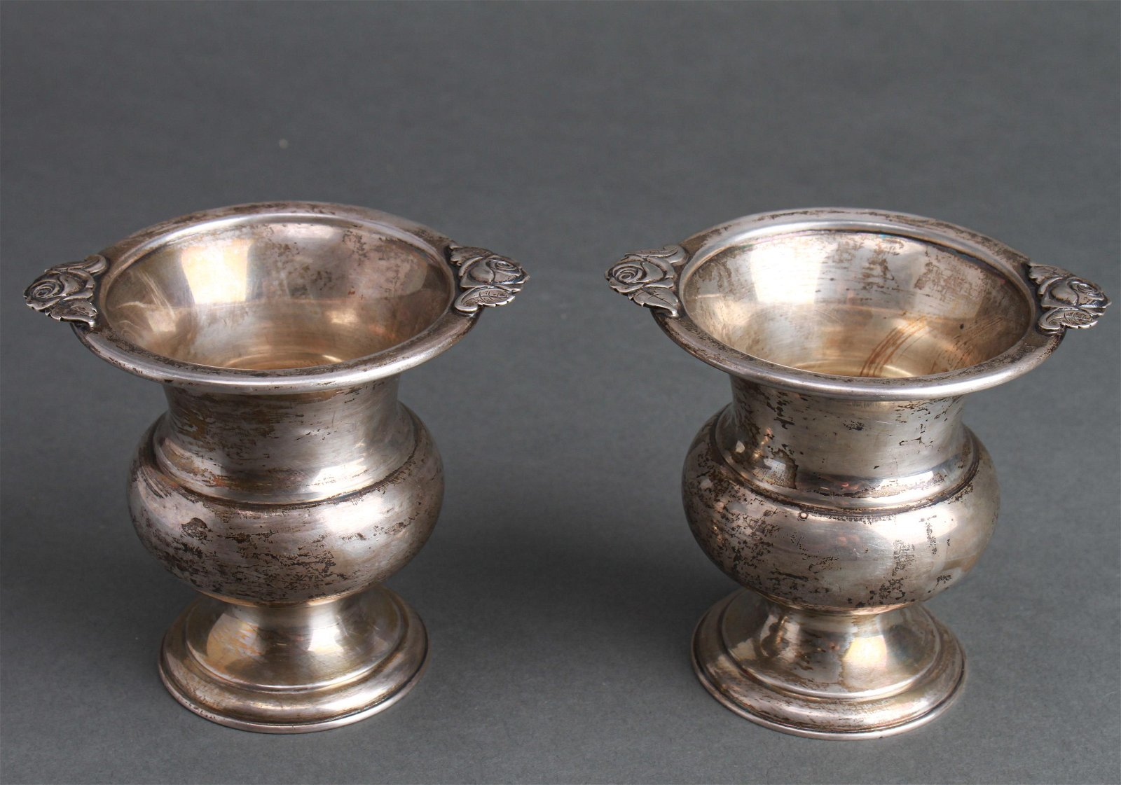 Sterling Silver Small Urns, Rose Motif, Pair