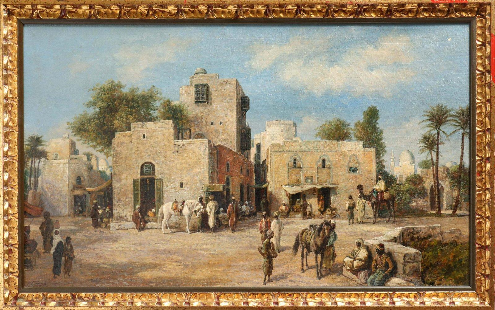 J.C. Frisch Orientalist Scene Oil on Canvas