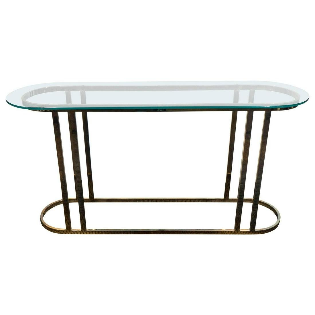Modern Brass And Glass Oval Console Table