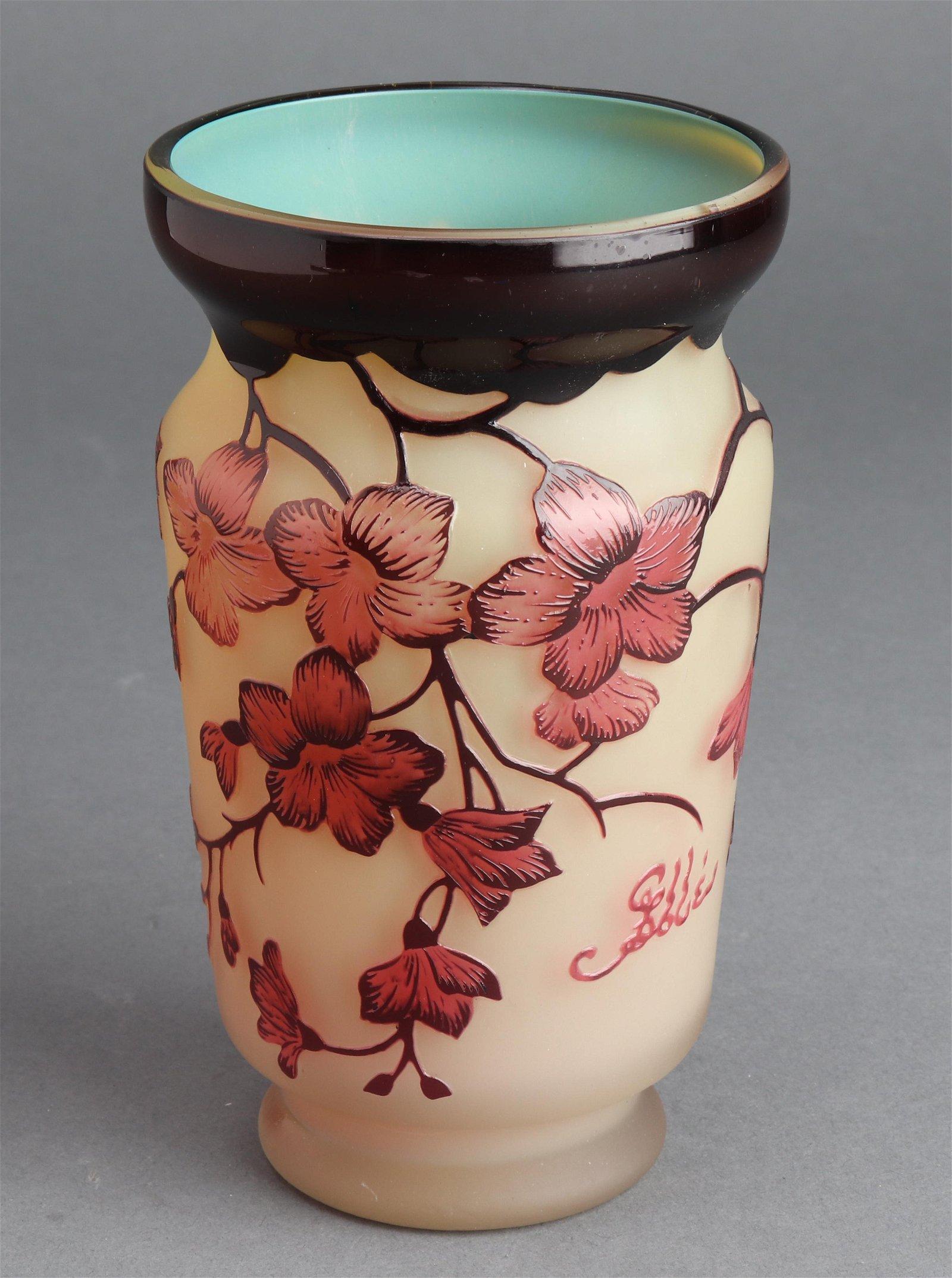 Signed Galle Art Nouveau Cameo Art Glass Vase