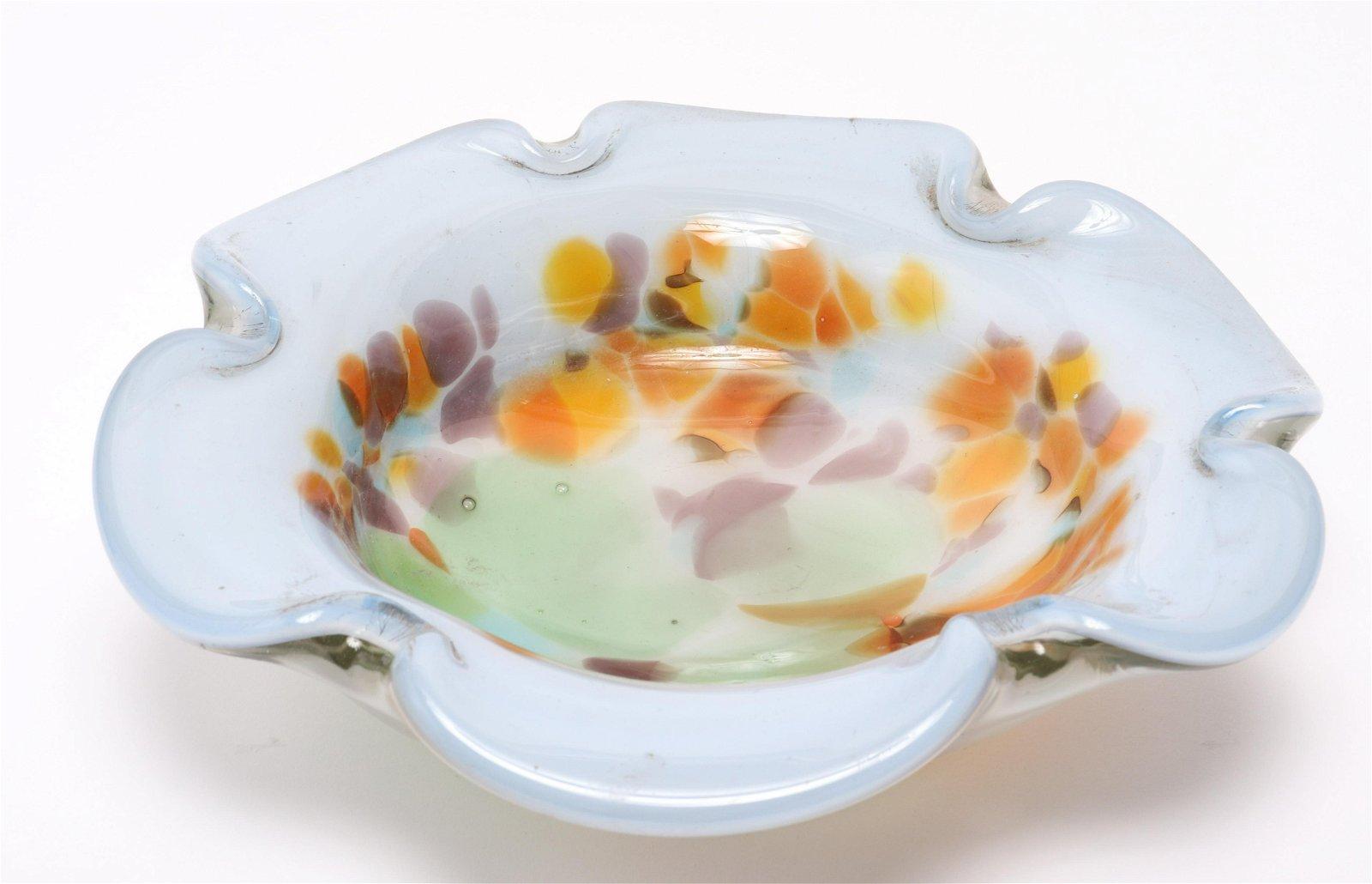 Modern Art Glass Flower Form Centerpiece Bowl