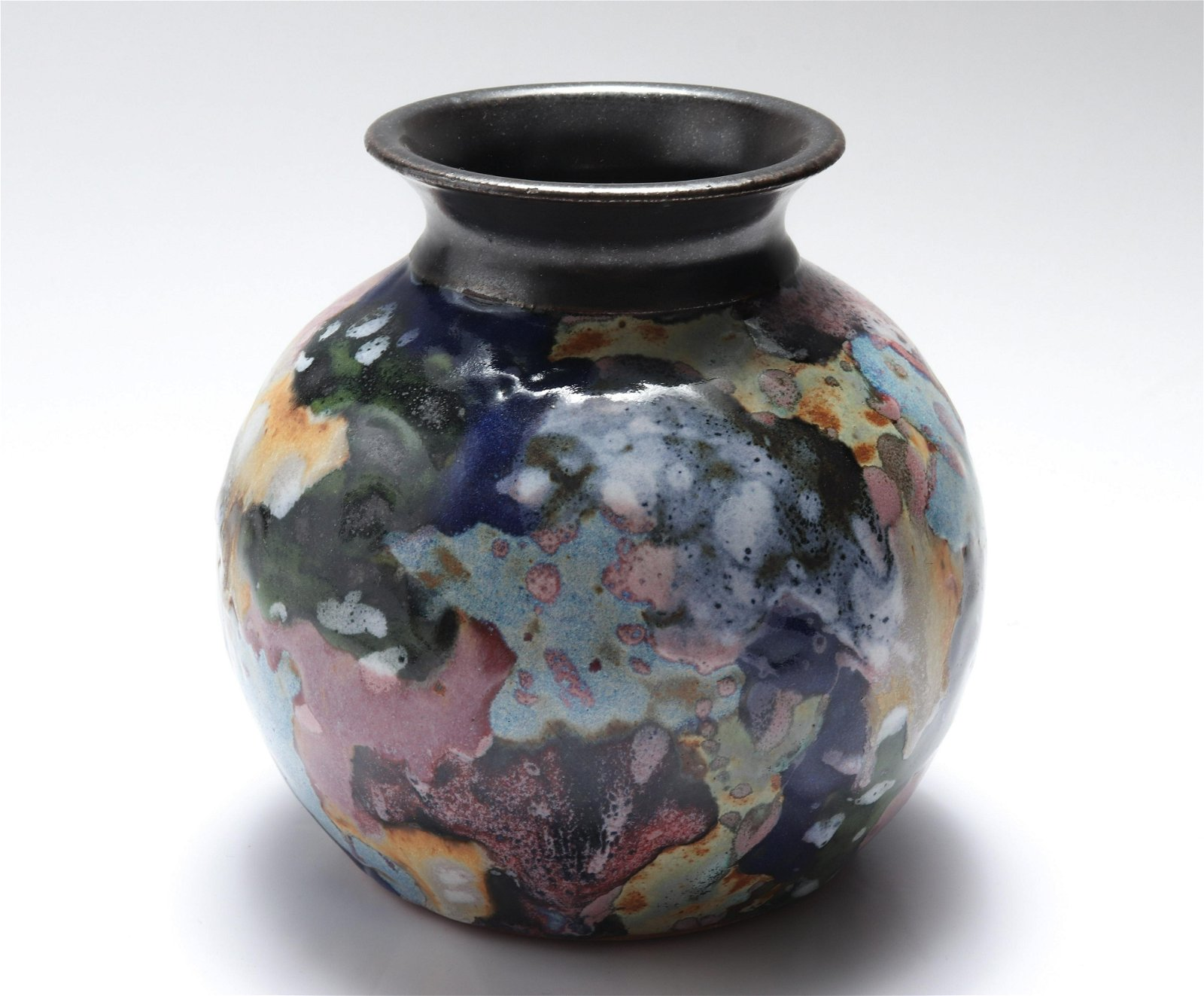 Modern Signed Studio Ceramic Glazed Vase