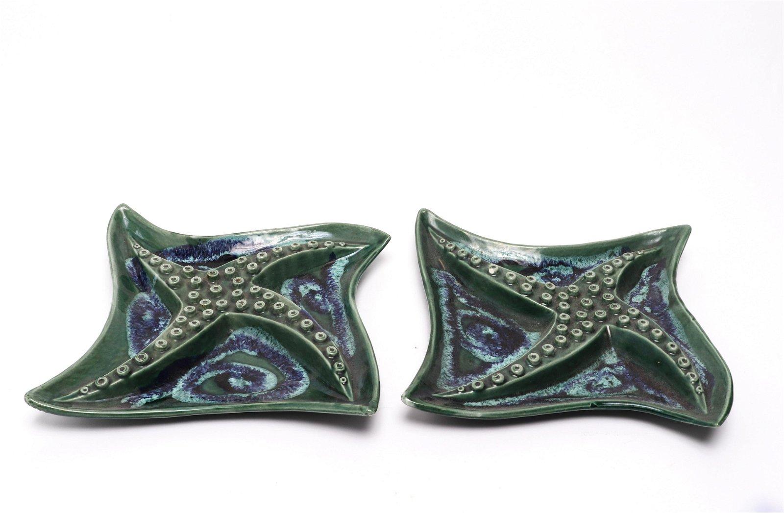 Ceramic Starfish Motif Serving Dishes, Pair