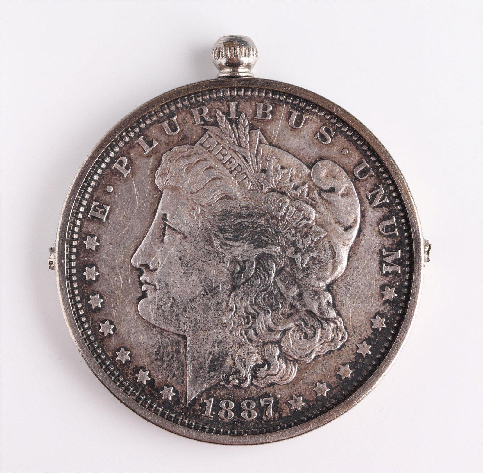 1887 Morgan $1 Silver Coin in Suspension Frame
