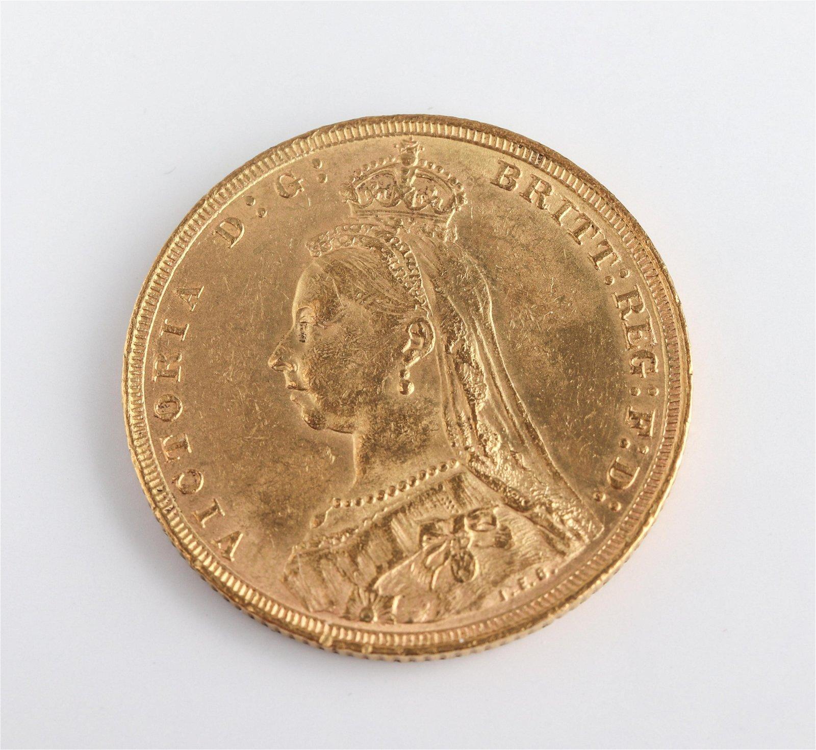1890 S Australia Victoria Sovereign Gold Coin