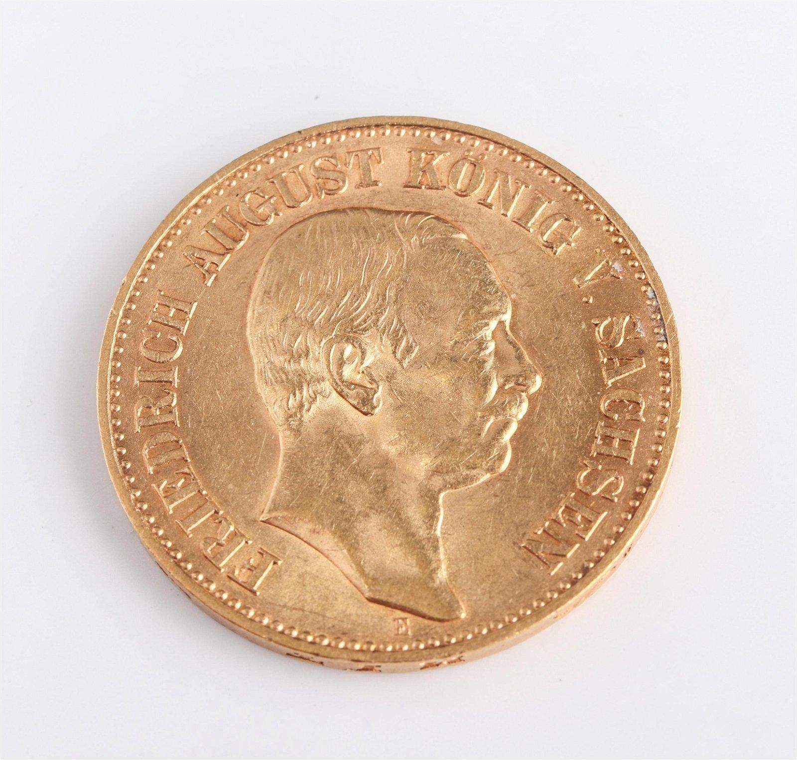 1905 Frederick Augustus 20 Mark Gold Coin