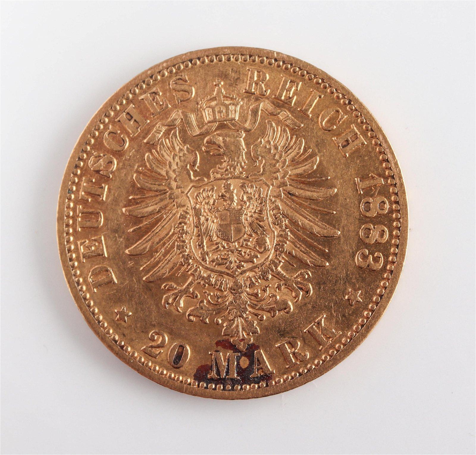 1883 Wilhelm I 20 Mark Gold Coin