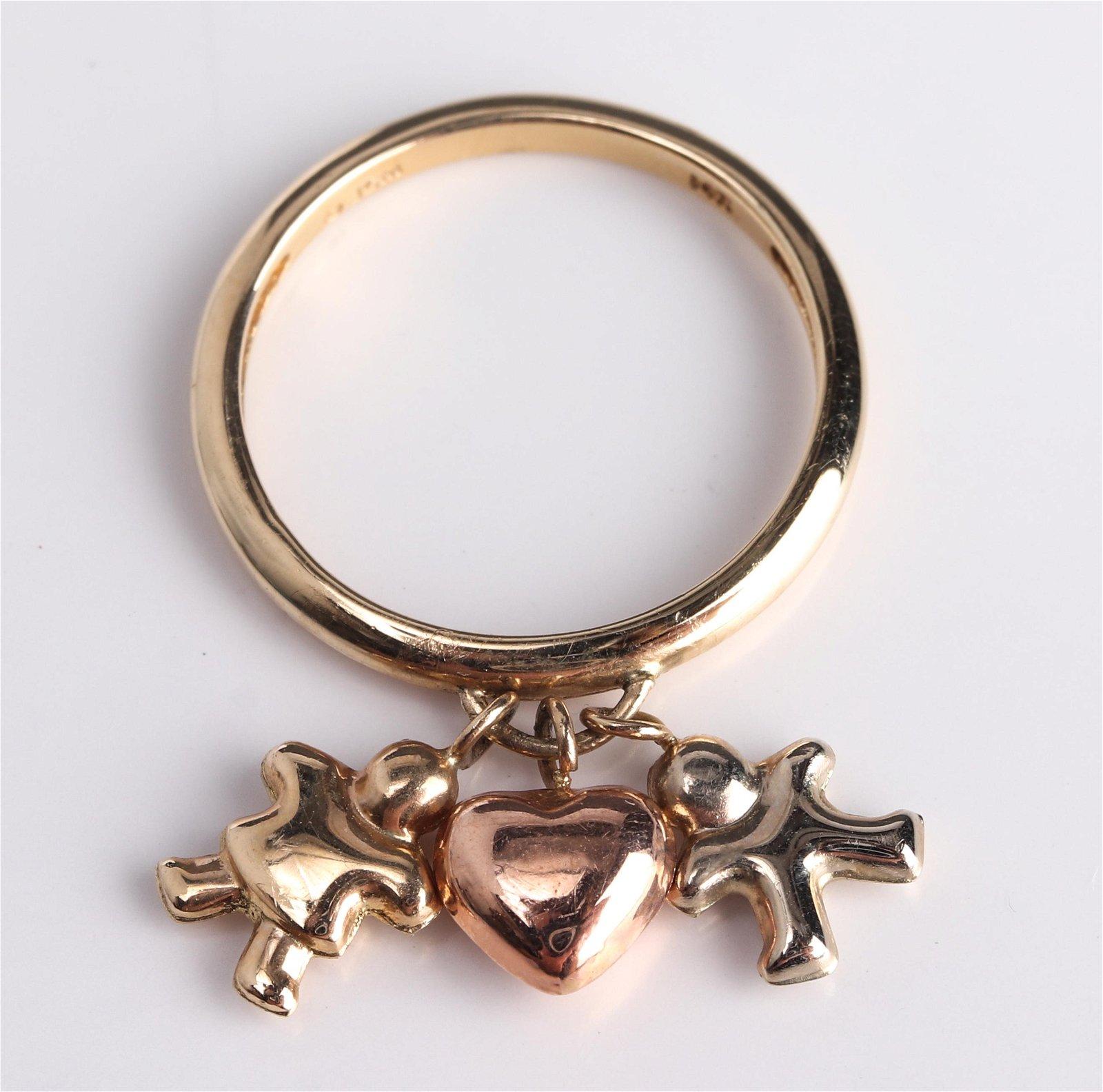 14K Tri-Gold Children & Heart Charm Ring