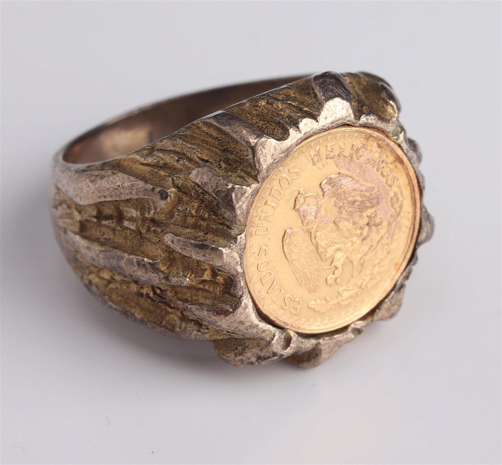 1945 Dos Pesos Mexican .900 Fine Gold Coin Ring
