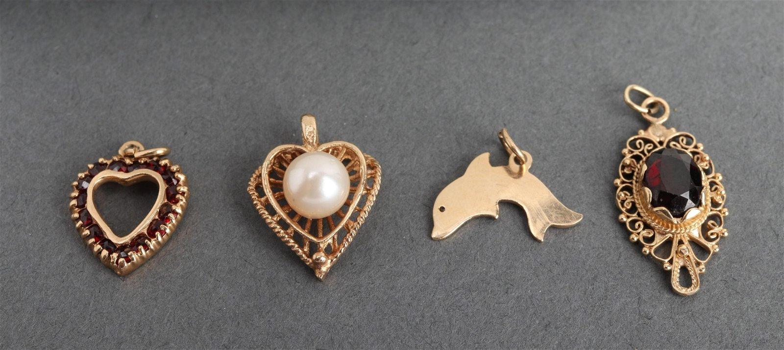 14K Yellow Gold Diamond & Garnet & Pearl Pendants