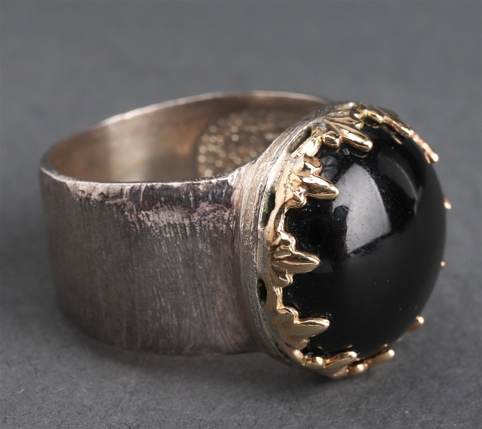 Silver & 14K Yellow Gold Onyx Ring