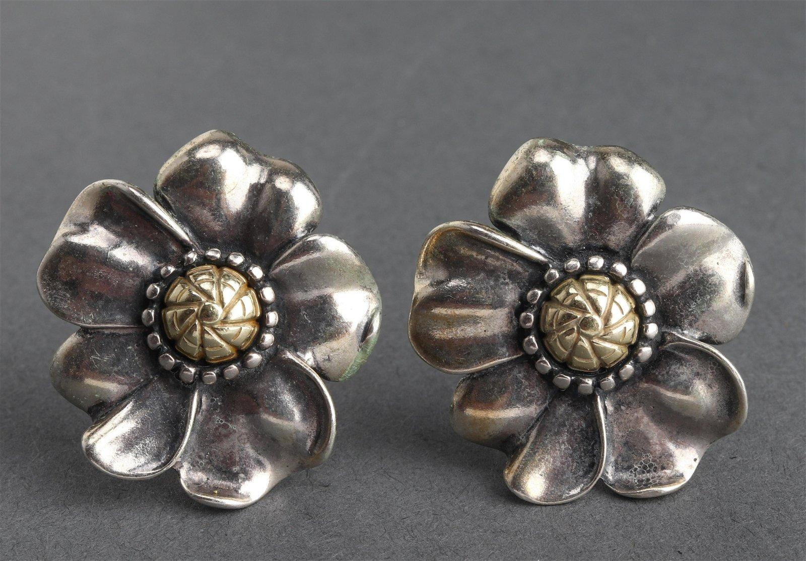 Anne King Silver & 18K Yellow Gold Flower Earrings