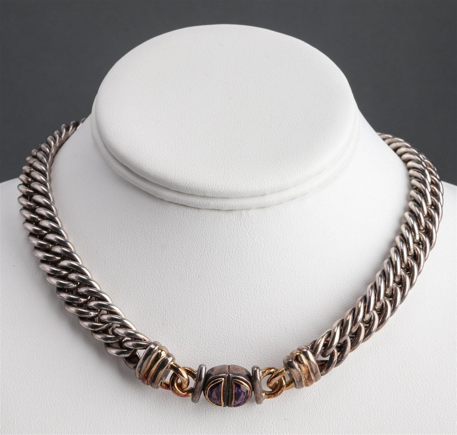 Christofle Silver, 18K Gold & Amethyst Necklace