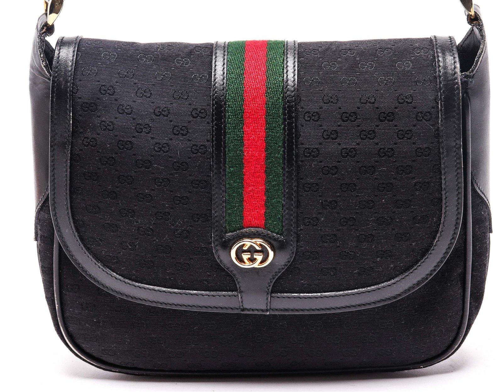 Gucci Black Monogram Canvas & Leather Handbag