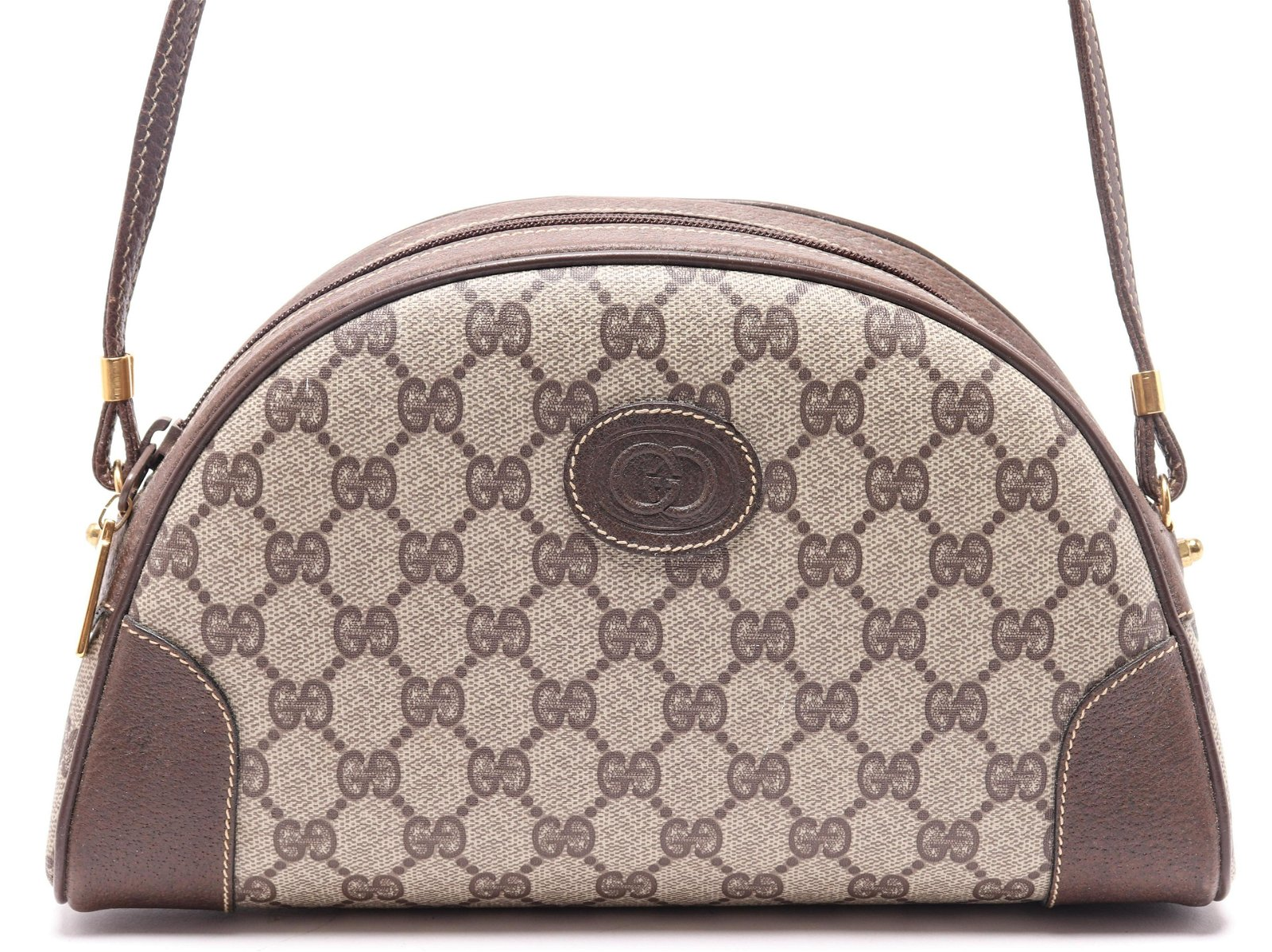 Gucci Monogram Canvas & Leather Handbag