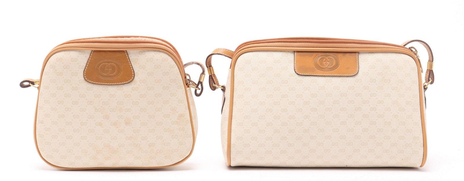 Gucci Monogram Canvas & Leather Handbags, 2
