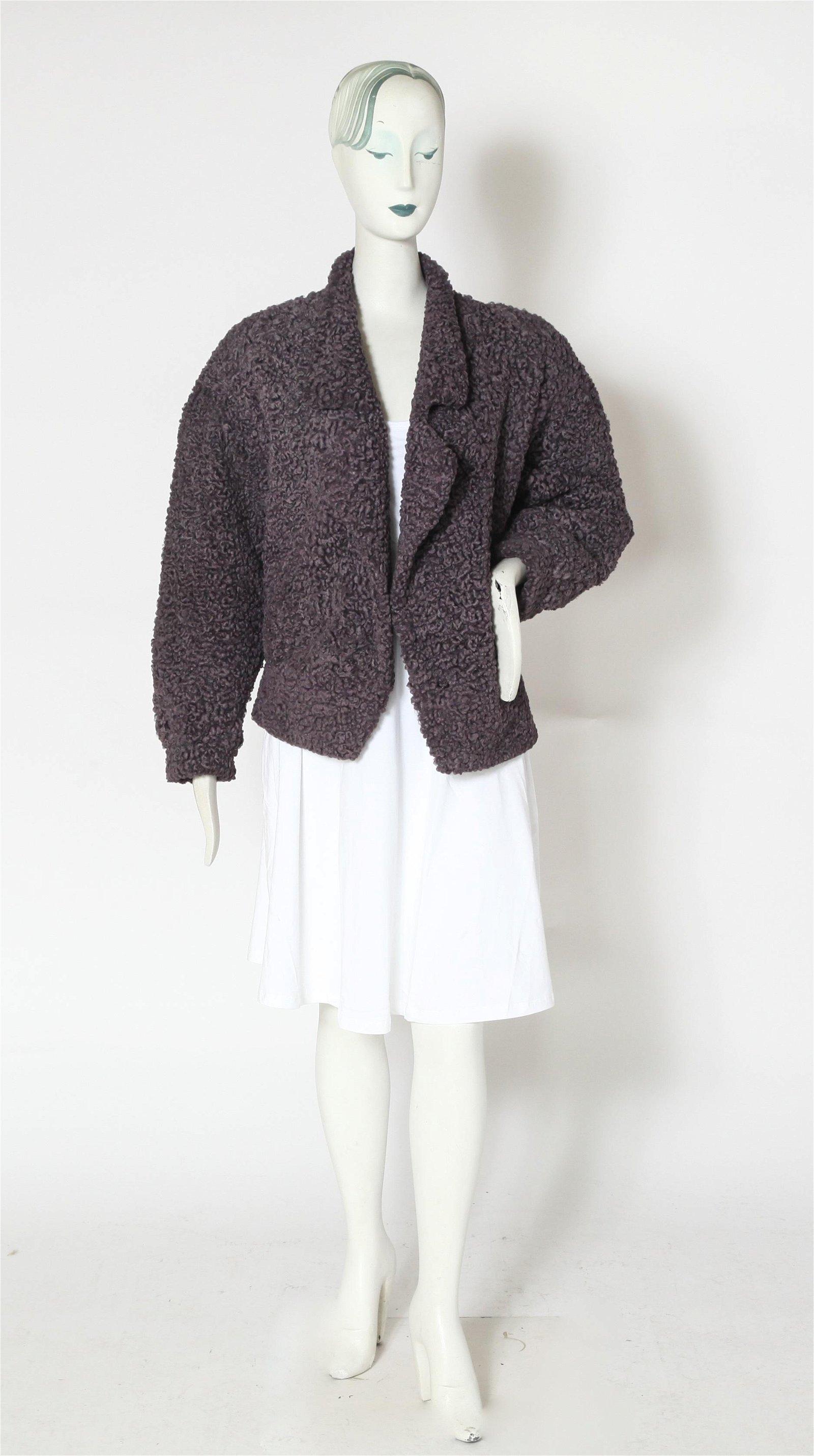 Carole Little Short Lamb Fur Coat