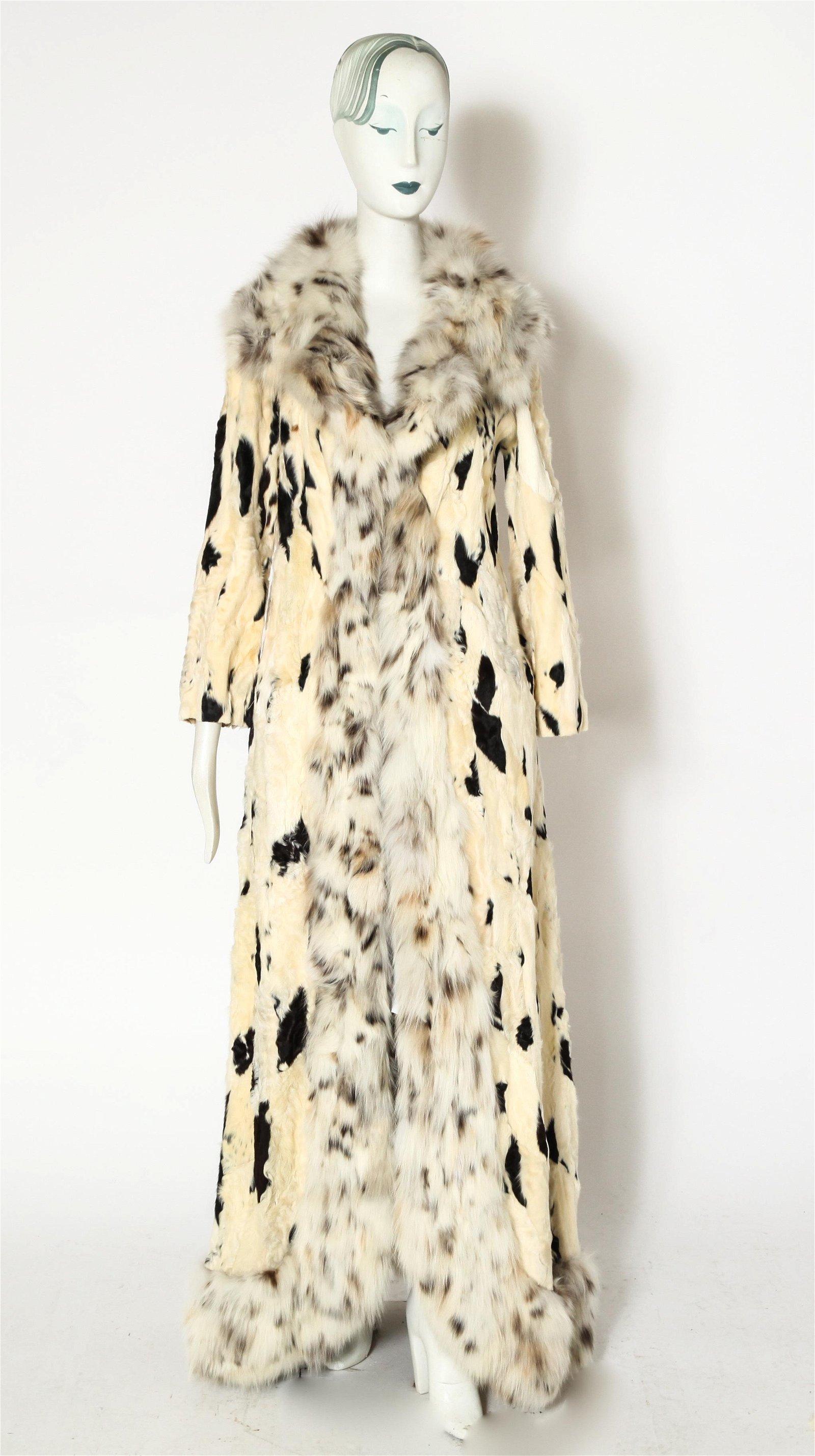 Goat and Lynx Long Fur Coat