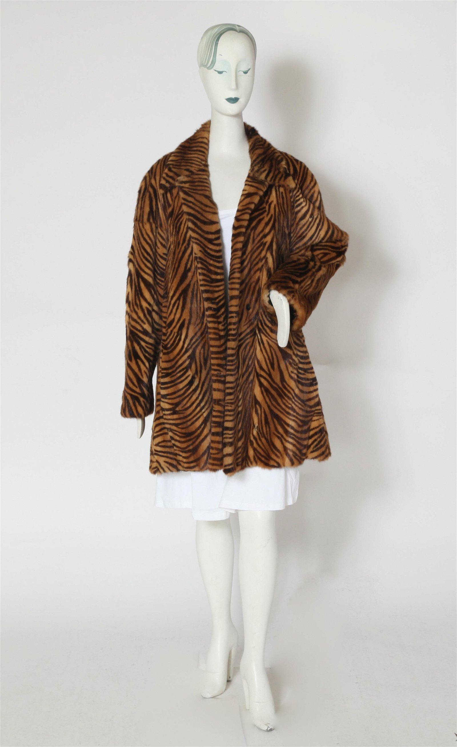 Stenciled Tiger Stripe Fur Coat