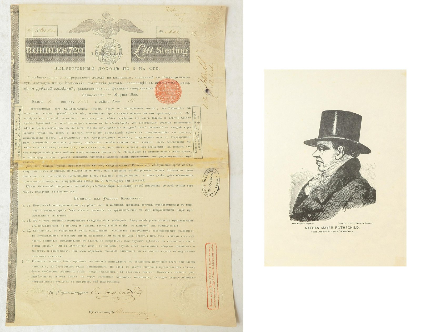 Russian 19th C Bond Issue Nathan Rothschild Signed