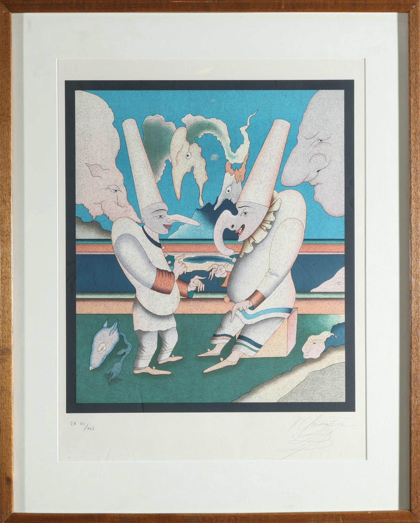 Signed M. Chemiakin Figures in Conversation Litho