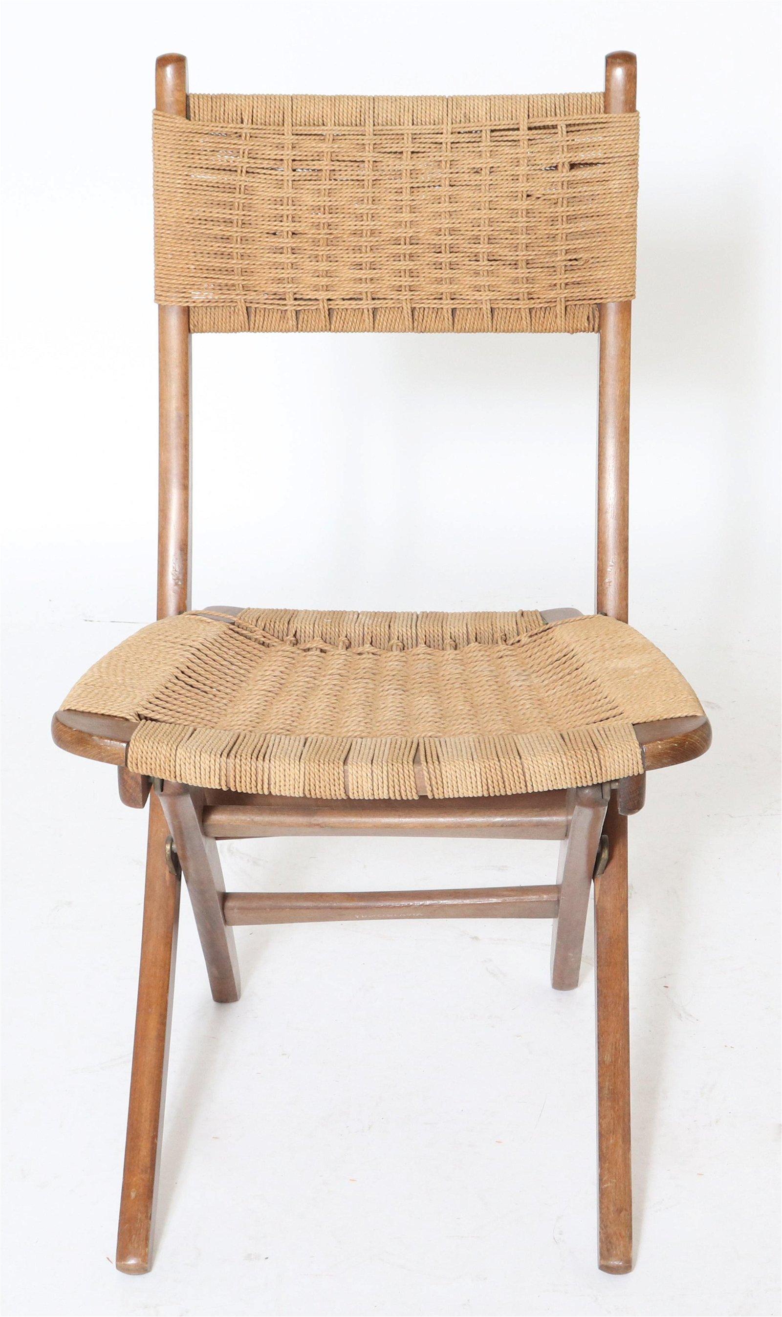 Mid-Century Hans Wegner Style Folding Rope Chair