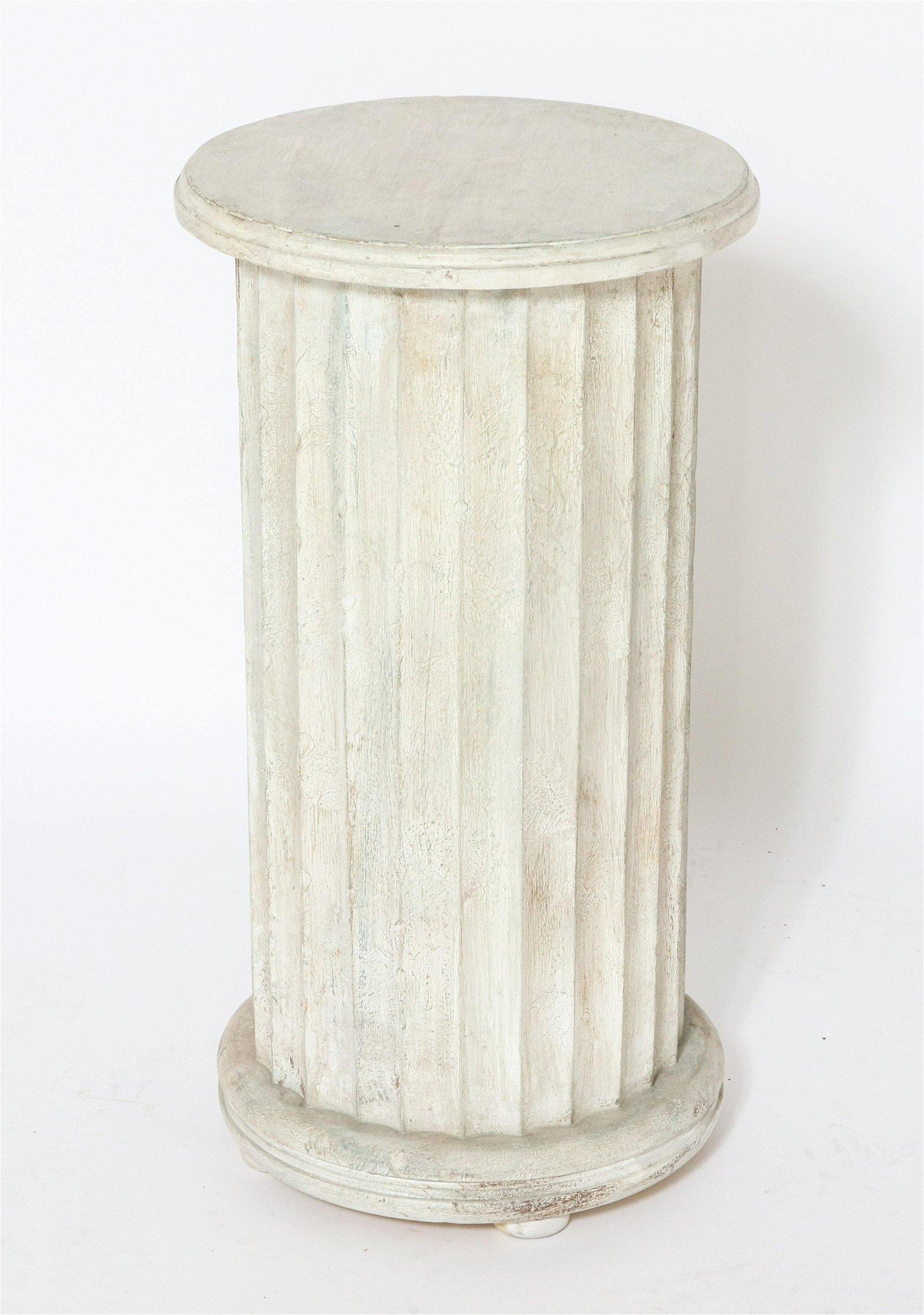 White Painted Columnar Pedestal Table