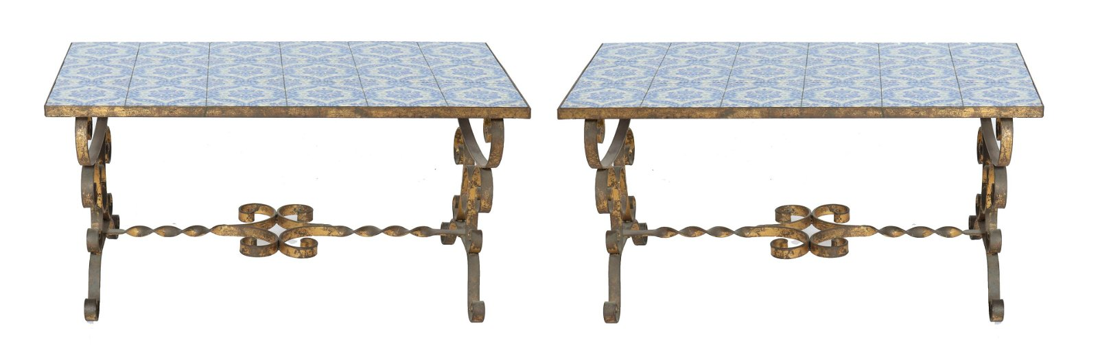 Tile Top & Wrought Iron Low Tables, Pr