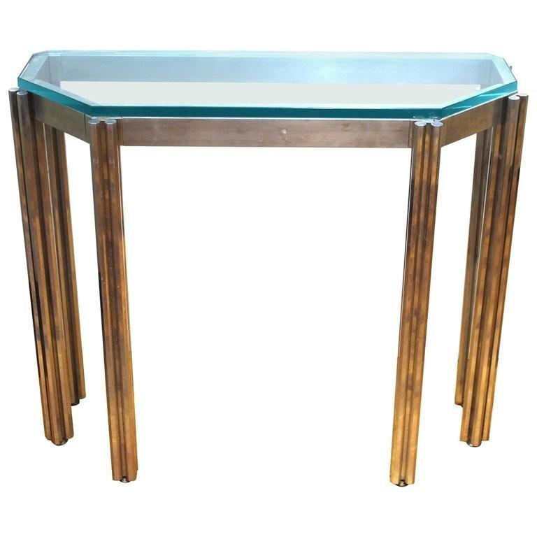 Alessandro Albrizzi Chrome Glass Top Console Table