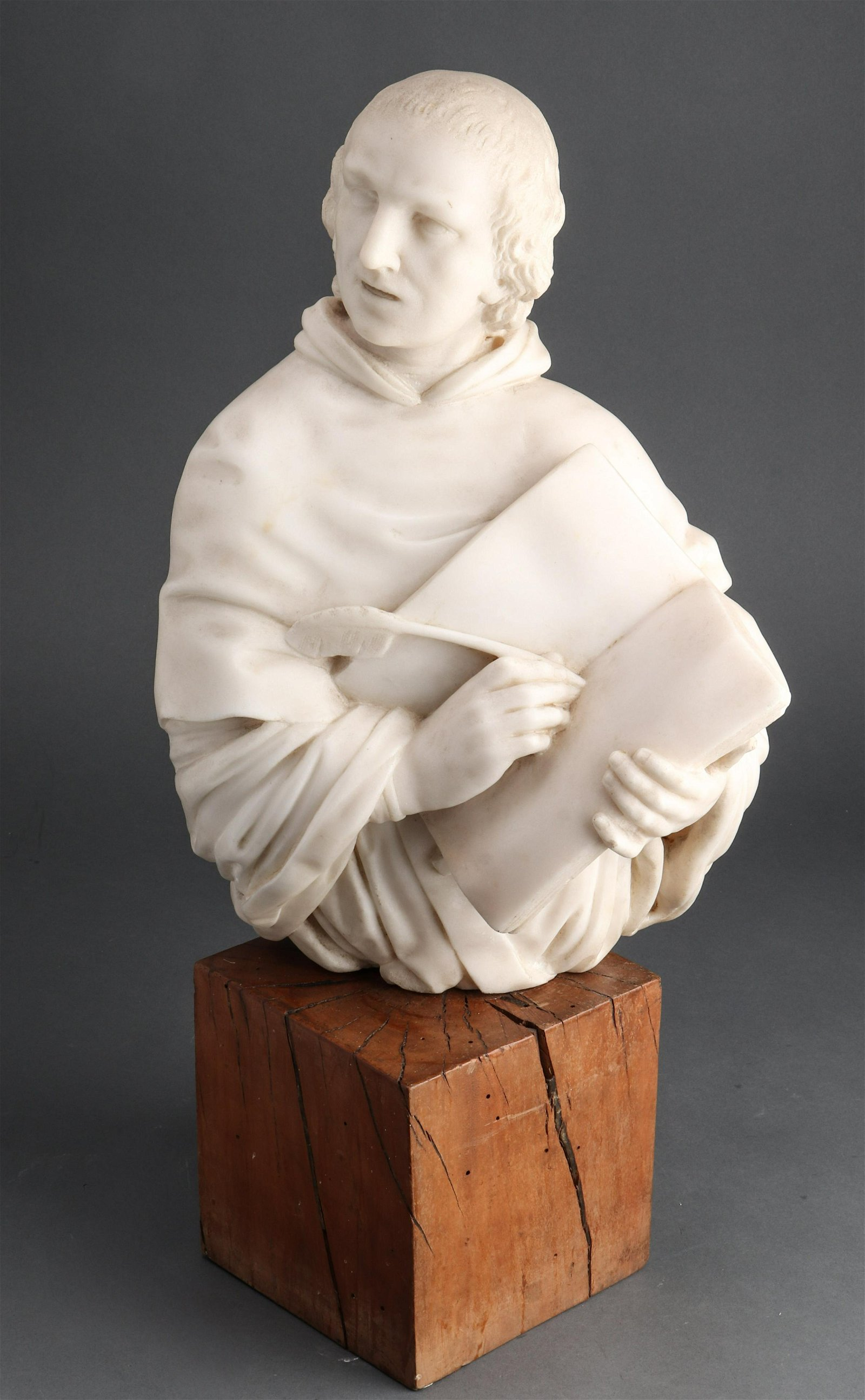 Carved Marble Bust of Religious Figure