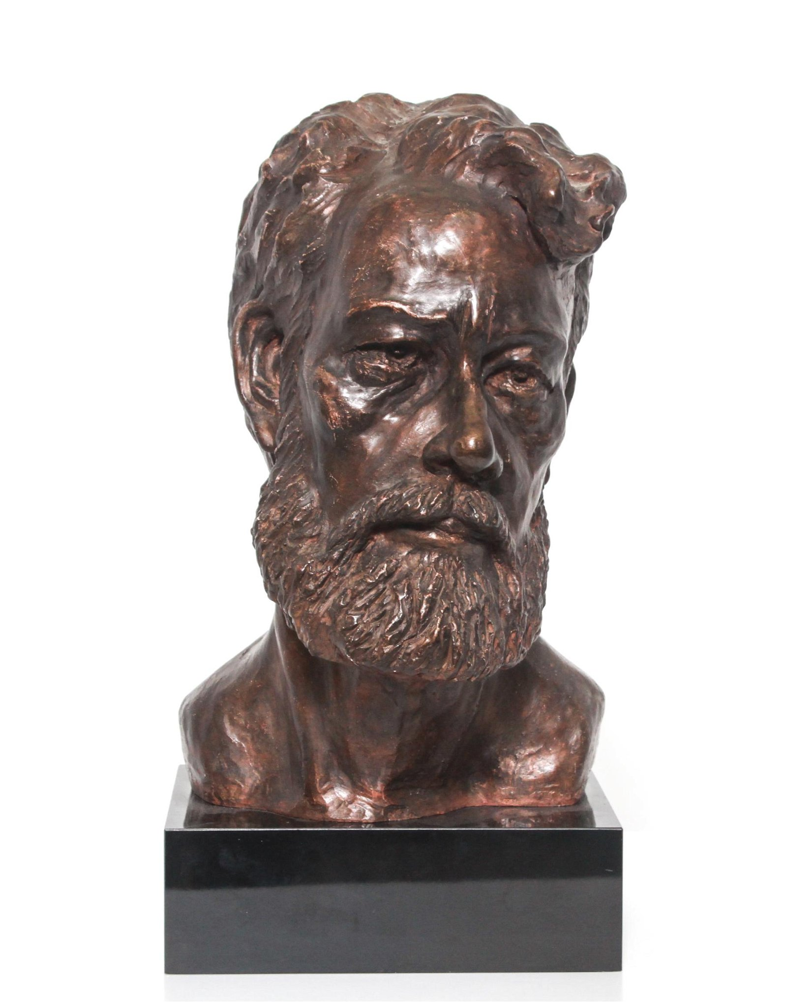 Signed Composition Bust of A Bearded Man