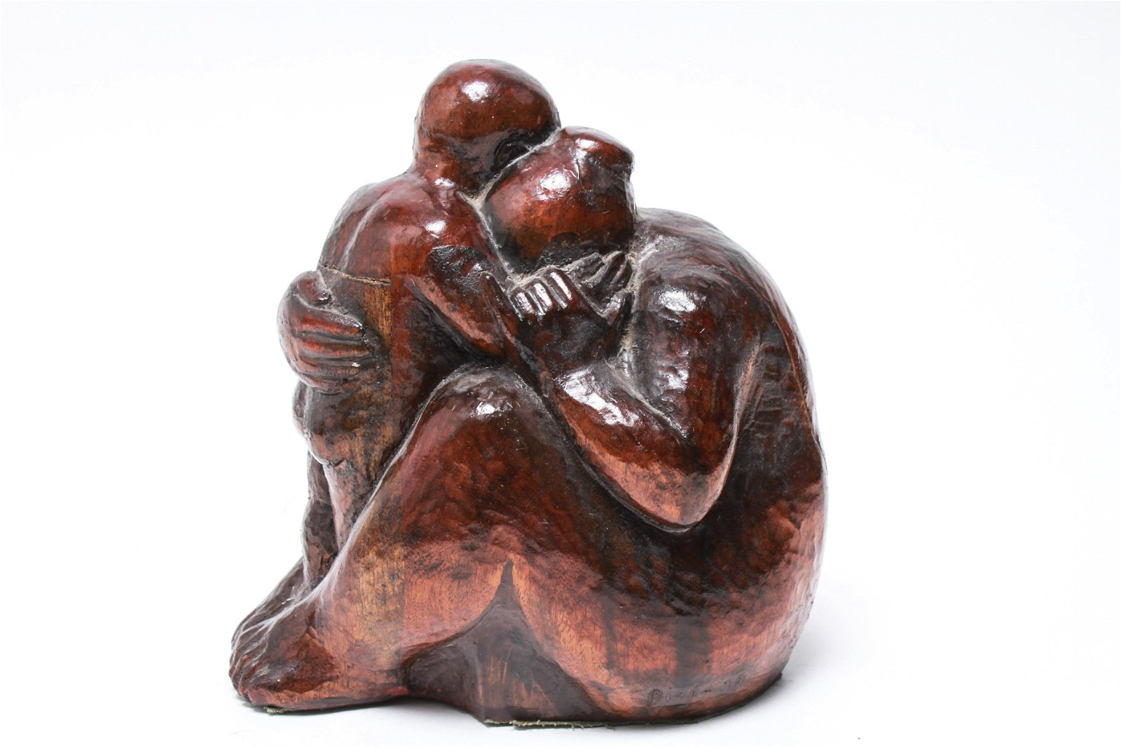 Botero Manner Wood Sculpture, Mother & Child