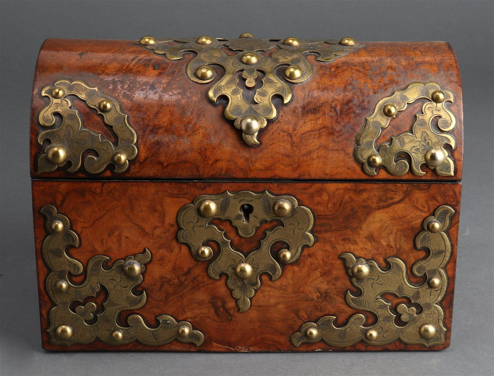 Baroque Manner Brass Mounted Letter Box, 19th C.