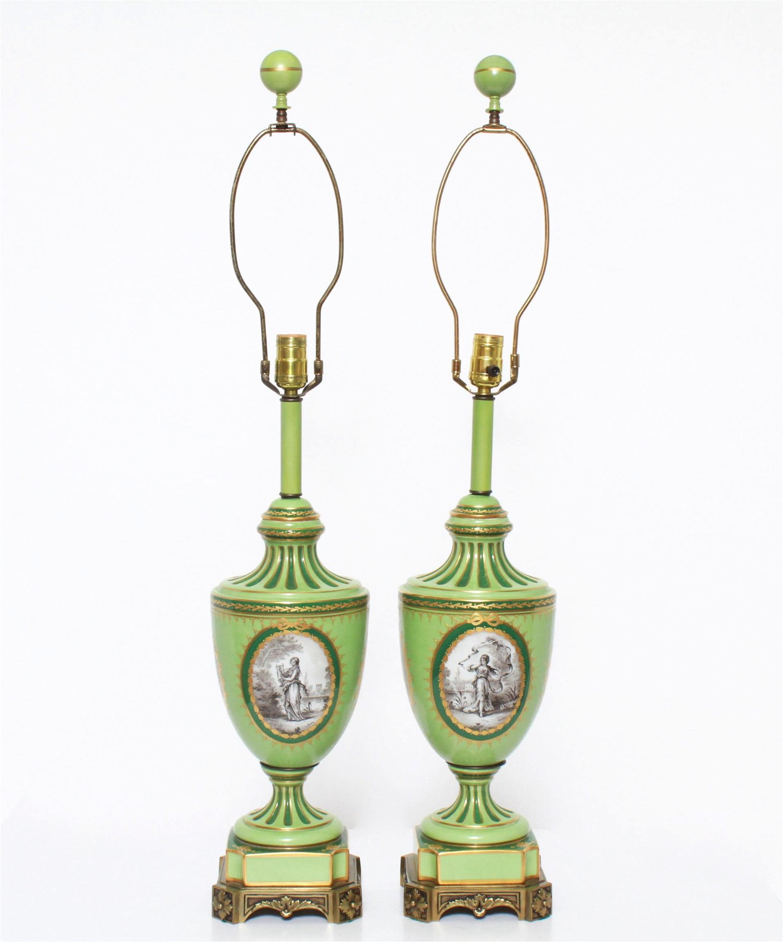 Neoclassical Manner Porcelain & Bronze Lamps, Pr