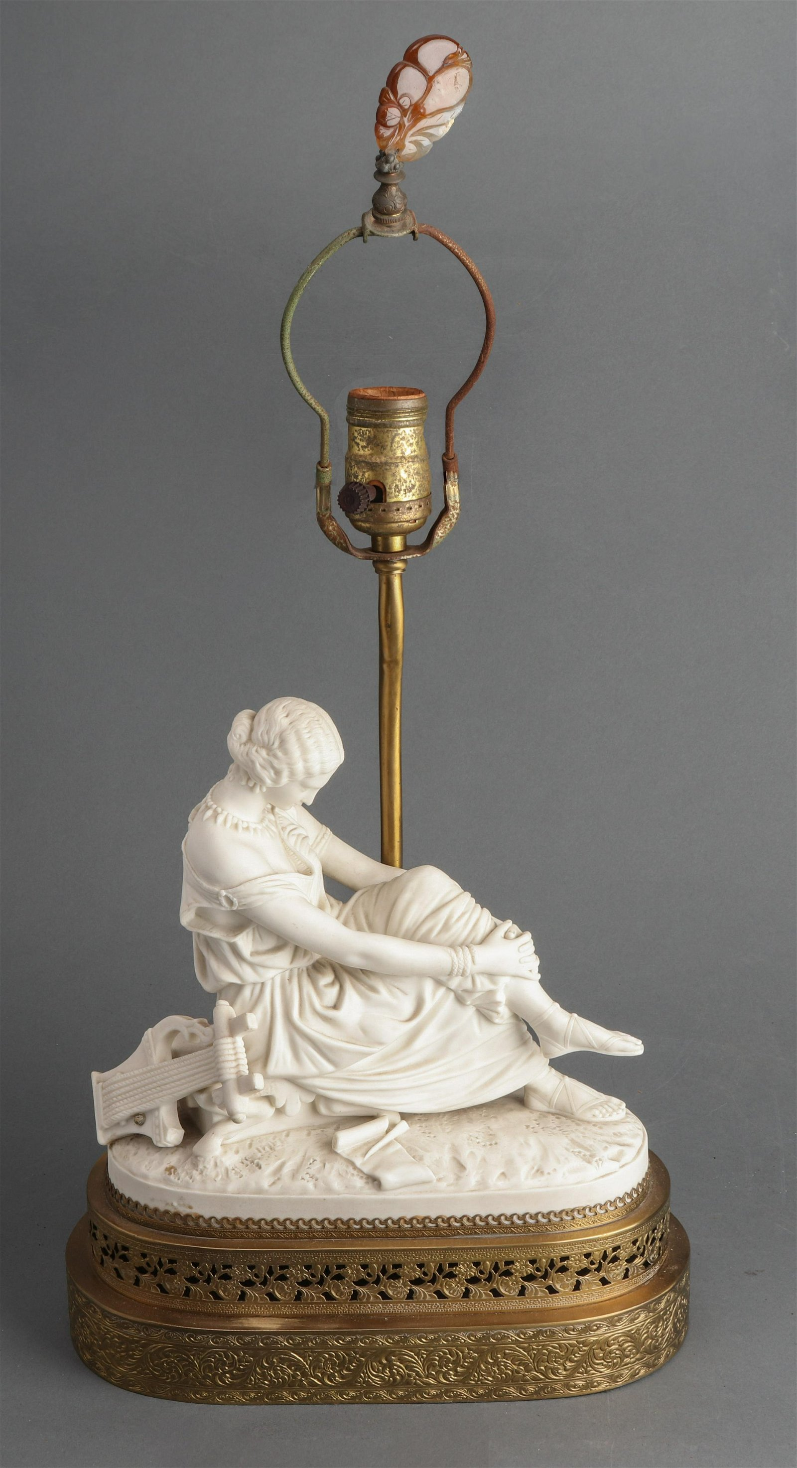 French Neoclassical Manner Bisque Figural Lamp