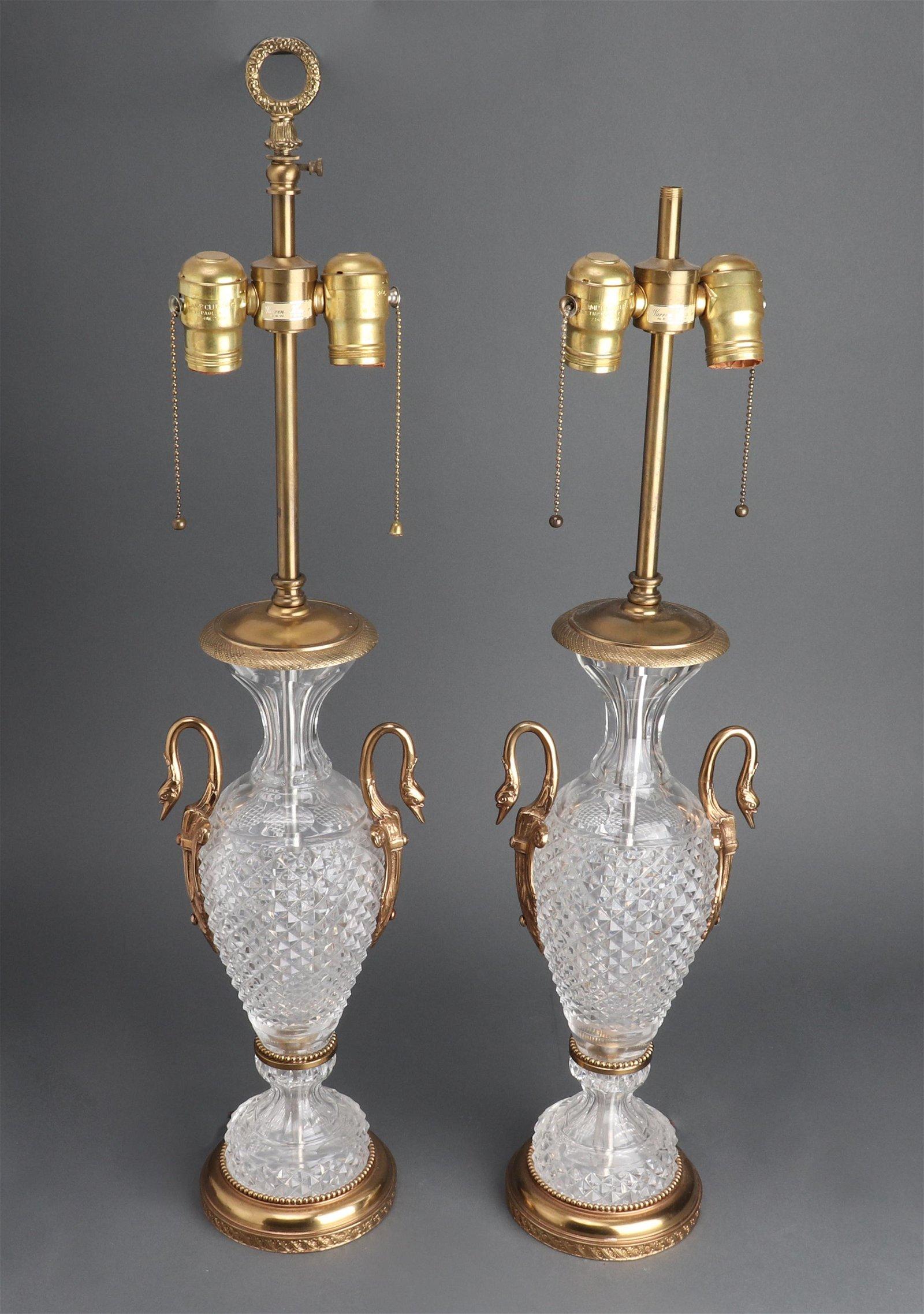 Warren Kessler Baccarat Style Table Lamps, Pair