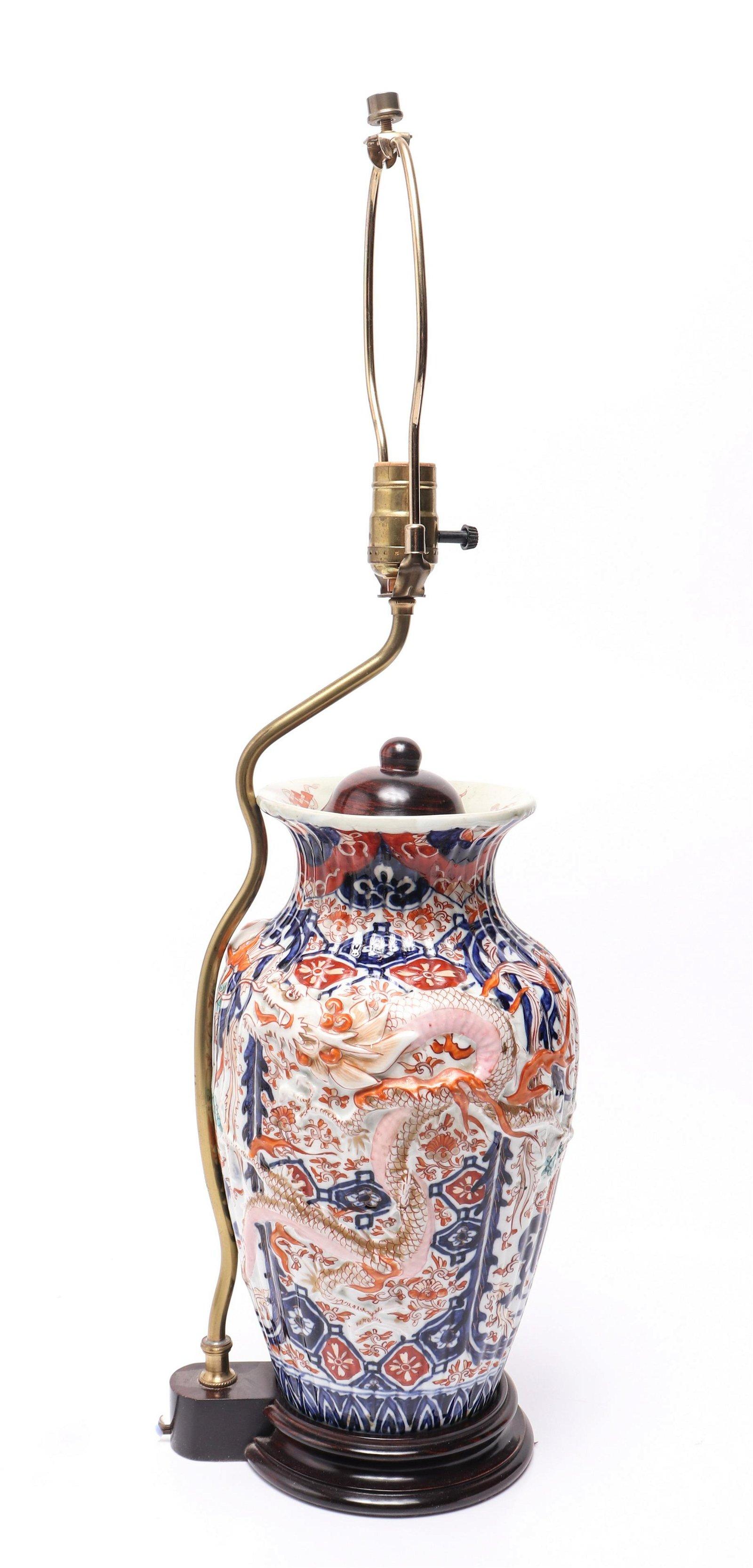 Japanese Imari Porcelain Vase Lamp, 19th C.